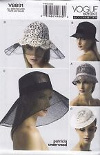 Vogue Sewing Pattern Cloche Hat Fascinator Small Brim  size OSZ V8891