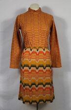 Vintage Queens Way to Fashion Zig Zag Orange Sweater Dress Hipster 70s Chevron