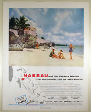 Vintage 1954 S. S. NASSAU Full-Page Large Magazine Print Ad: BAHAMAS BEACH FRONT