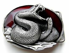 RATTLE SNAKE REPTILE PEWTER ENAMEL FINE FINISH BELT BUCKLE 3.25 INCHES