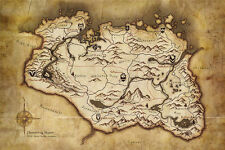 The Elder Scrolls V Skyrim game Map Poster Wall Art Canvas Print 24x36inch