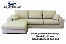 Brand New  - AUS MADE Winston (Faux Leather) 2.5 + Chaise Sofa Lounge Couch