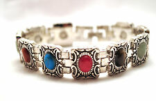LADIES 7.25 INCH HEALING MAGNETIC THERAPY BRACELET Silver & Semi-Precious Stones