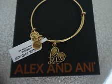 ALEX AND ANI LOVE IV Russian Gold Finish Bangle Bracelet New W/Tag Card & Box