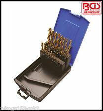 BGS - 19 Pcs Twist Drill Set, Titanium Coated, HSS, 1-10 mm Pro Range - 2013