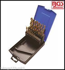 BGS-Werkzeug - 19 un. Twist Drill Set, titanio recubiertos, Hss, 1-10 mm Pro Gama