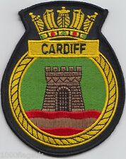 HMS Cardiff Royal Navy Embroidered Crest Badge Patch - MOD Approved