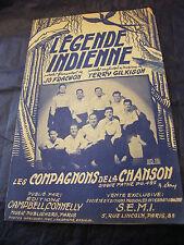 Partition Légende indienne Les compagnons de la chanson 1951 Music Sheet