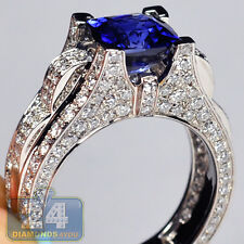 18K White Gold 5.39 ct Blue Sapphire Diamond Gemstone Womens Engagement Ring