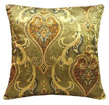 mr+3 Damask Purple Gold Brown Gold Shimmer Velvet Cushion Cover/Pillow Case