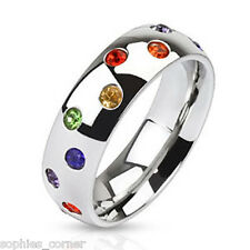 Solid Sterling Silver Ring/band w/multi gemstone - Lifetime Guarantee