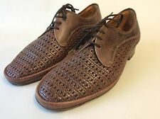 Vintage 1950's basket weave brown leather shoes size 8