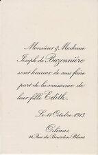 § FAIRE-PART DE NAISSANCE D'EDITH DE BUZONNIÈRE - ORLÉANS, 1913 §