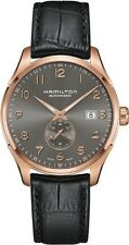 H42575783 Hamilton Maestro Mens Watch Gray Dial Black Leather Strap RG Case 40mm