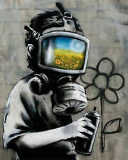 Banksy Graffiti Gas Mask Boy Art Silk Poster 24x36inch