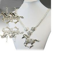 RHINESTONE HORSE WESTERN JEWELRY COWGIRL NECKLACE EARRINGS SET