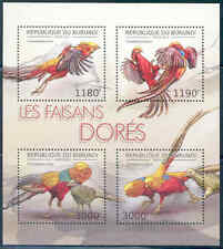 BURUNDI 2012 BIRDS GOLDEN PHEASANT SHEET OF FOUR MNH