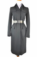 Prada Women's Black Leather Belted Coat Size 38