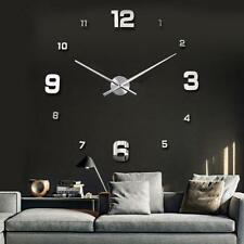 Modern DIY Large Numbers 3D Wall Clock Mirror Sticker House Decoration Silver TL