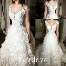 Feathers Off Shoulder Appliques Wedding Dresses A Line Beads Bridal Gown Custom
