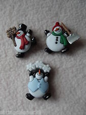 DRESS IT UP BUTTONS ~ ROLY POLY SNOWMAN ~ 3 COLOURFUL SNOWMEN ~ CHRISTMAS