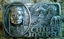Chief Joseph Indian Prarie Horse Belt Buckle Pewter Siskiyou Co. Made in USA
