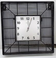 "CONTEMPORARY BLACK GRID IRON 16 "" SQUARE WALL CLOCK MADE BY THE HERMLE CLOCK CO"