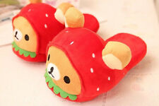 rilakkuma strawberry bear plush indoor slippers house shoes new