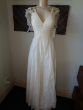$500 ANAISS ON WEDDING EVELYN EMBELLISHED  SHOULDER CHIFFON GOWN SIZE 14