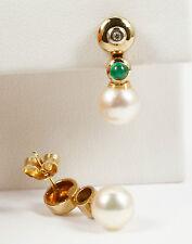 Aparte Ohrringe Ohrpendel mit Perle, Smaragd und Brillant 0,02 Carat; 585 Gold