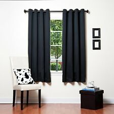 1 BLACK SOLID PANEL THERMAL LINED BLACKOUT GROMMET WINDOW CURTAIN K32 63""