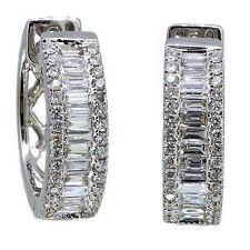 14k White Gold Baguette Diamond & Round Cut Earring Huggie 1.64 Carat