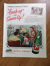 1950 7up Soda Pop Bottle Ad Family Watching TV Television Program