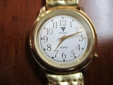 VINTAGE WOMAN'S FOCUS  GOLD-TONE QUARTZ WATCH- new battery BRAIDED BAND