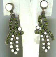 VINTAGE 1940'S MARGOT DE TAXCO MEXICAN STERLING SILVER ENAMEL EARRINGS # 5620