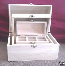 SET OF THREE PLAIN WOODEN DOMED PIRATE TREASURE CHEST BOXES JEWELLERY TEA CADDY