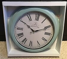 Duck Egg Blue Station Roman Numerals Wall Clock 40cm Vintage Kitchen Shabby Chic