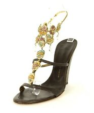 GIUSEPPE ZANOTTI Dark Brown Leather & Jeweled Strappy Wedges Sandals 36.5