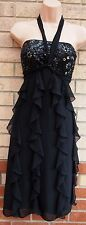 DEBUT TIERED RUFFLE FRILL FRILLY BLACK BEADED PARTY EVENING FLIPPY DRESS 12 M