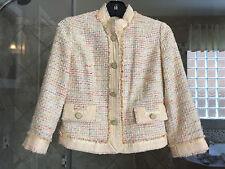 ECI Bukle Tweed Yellow Multy Color Jacket Size 2