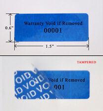 "500 Security Label Seal Sticker Blue Tamper Evident VOID ps3 1.5"" x 0.6"" Printed"