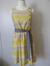 Brooklyn Industries Yellow/Gray Striped  Belted Kneelength Cotton Dress SZ: 0