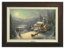 Thomas Kinkade - Sunday Evening Sleigh Ride – Canvas (Espresso Frame)