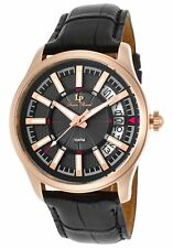 Lucien Piccard Del Campo Black Genuine Leather and Dial Rose-Tone SS