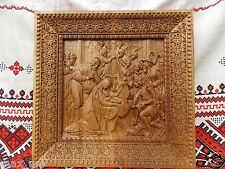 """Nativity UNIQUE christian gift Wood carving Icon 12"""" x 12"""" FREE ENGRAVING"""