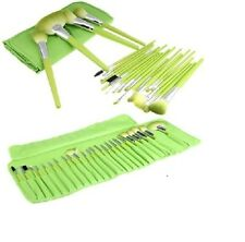 Wool Cosmetic Professional Makeup Brush Set - 24 Pieces with Green Leather Case