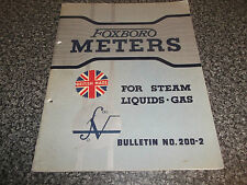 Foxboro Yoxall Flow Meters Catalogue For Steam Liquids Gas Bulletin 200-2 c1936