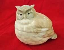 "Otagiri Japan Ceramic Porcelain Owl Trinket Jewelry Box  4"" L x 3.5"" H"