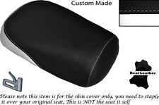 BLACK & WHITE CUSTOM FITS SUZUKI VL 800 VOLUSIA REAR LEATHER SEAT COVER
