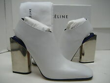 $1350 NEW CELINE US 8.5 EUR 39 Off-White Leather Boot High Heels Slingback Shoes
